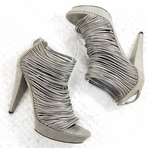 Vic Matie Leather Cage Heeled Sandals Silver Gray